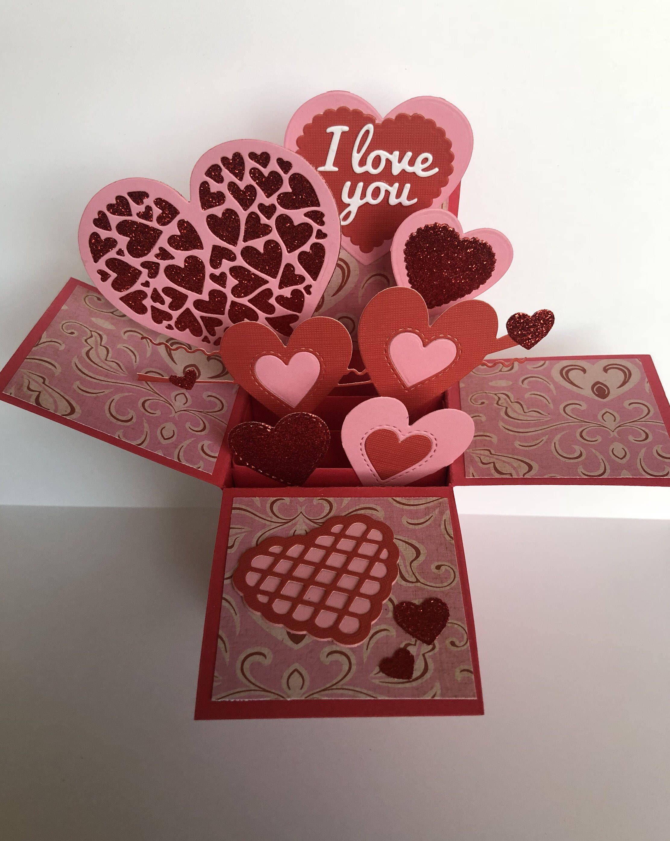 3d Valentines Day Explosion Box Card 3d Valentine S Day Pop Up