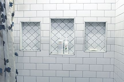 White Tile Bathroom Gray Grout shower: white subway tiles, gray grout, arabesque tile in the