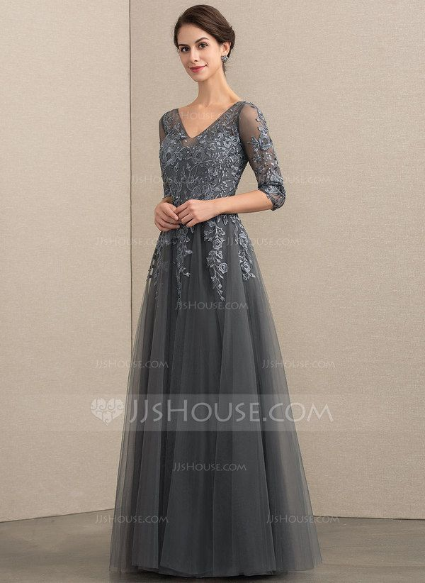 a45b09bcc77 A-Line V-neck Floor-Length Tulle Lace Mother of the Bride Dress With  Beading Sequins (008152148) - Mother of the Bride Dresses - JJ s House
