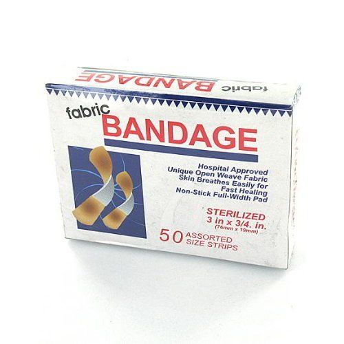 144 50 Pack fabric bandages. by FindingKing. $199.99. Box of 50 fabric sterile bandage strips. They are soft, flexible and made with a unique open weave fabric. Helps skin breathe easily for fast healing. Non-stick with full width pad.