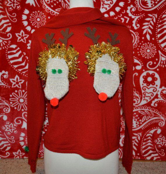 Saggy Reindeer Boob Ugly Christmas Sweater Medium Cut Out Boob