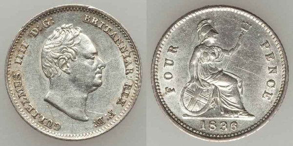 Beautiful Silver Coin from Great Britain 1836 Four Pence or Britannia Groat William IV Head Facing Right Beautiful Extremely Fine or Better