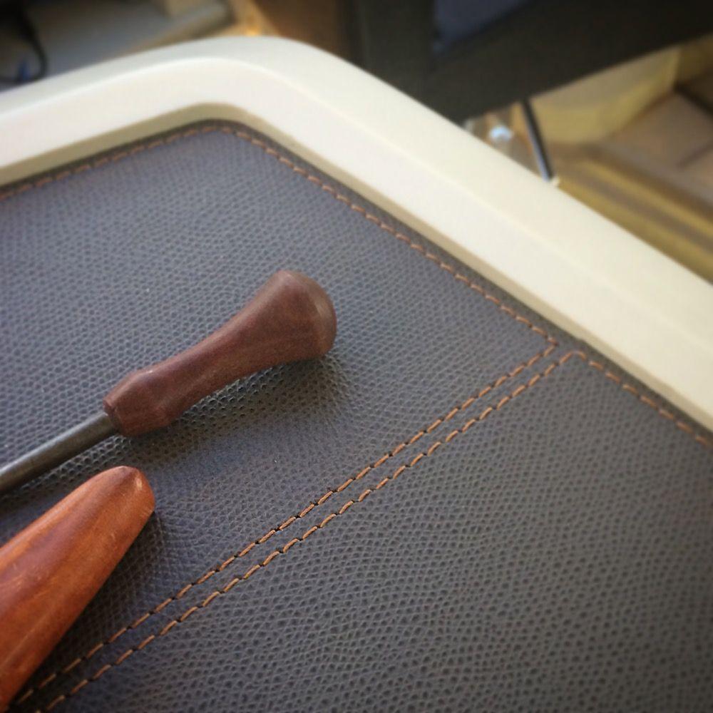Our black printed calfskin #golf applied to #sailboat #interiors (3)  --- #giobagnara #handmadeinitaly #leather