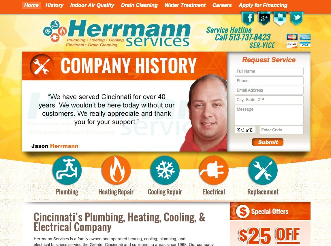 Does Your Website S Homepage Contain The 3 Must Have Components Look At This Hvac Website Design From L Hvac Company Website Design Website Design Inspiration