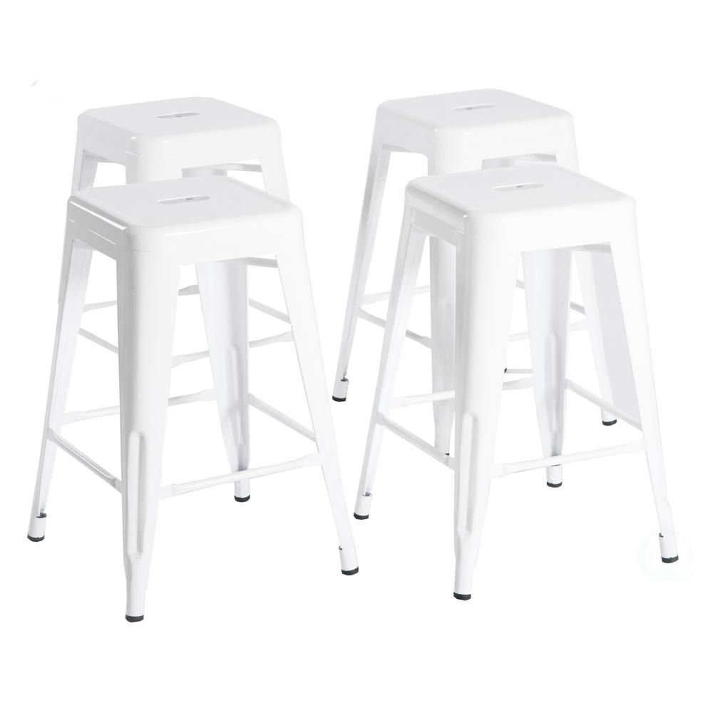 Bold Tones 24 In High White Industrial Vintage Metal Kitchen Counter Height Indoor Outdoor Backless Stackable Bar Stool Set Of 4 Qi003539w 4 The Home Depot Metal Bar Stools Bar Stools Outdoor Bar Stools