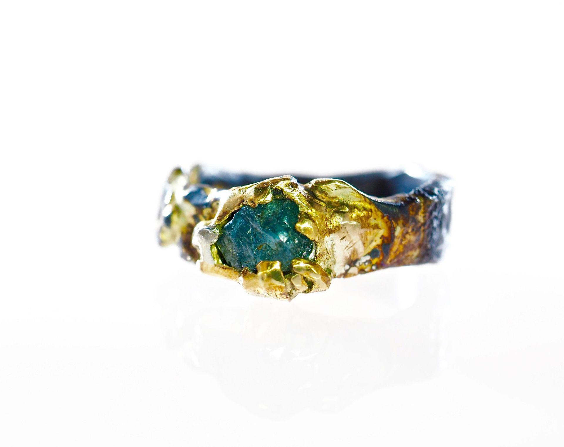 Aliança De Casamento · Pedras Marinhas · Anéis De Noivado De Diamante · Raw  Diamond Engagement Ring Wedding Band c04d168e6c