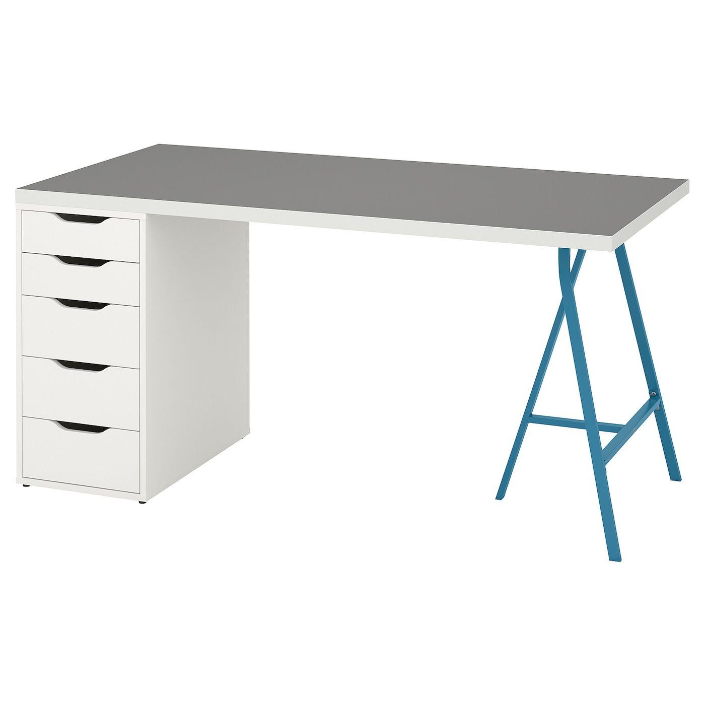 Ikea Linnmon Alex Table Light Gray White Blue In 2020 Ikea Ikea Table Light Table