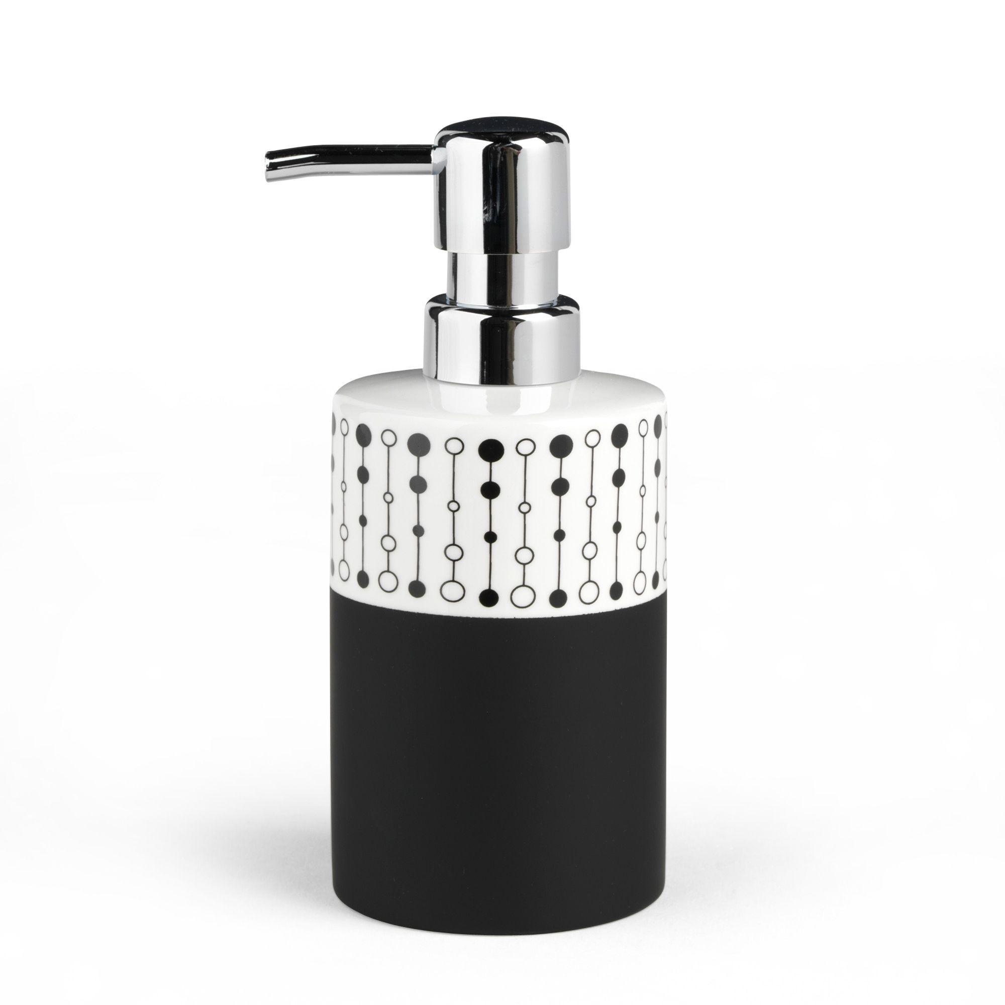 distributeur de savon noir et blanc perle accessoires de salle de bains alinea - Alinea Salle De Bain Accessoires