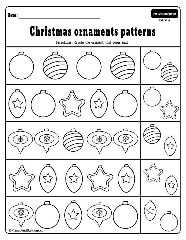 preschool christmas patterns activities for fun holiday math lessons christmas kindergarten. Black Bedroom Furniture Sets. Home Design Ideas