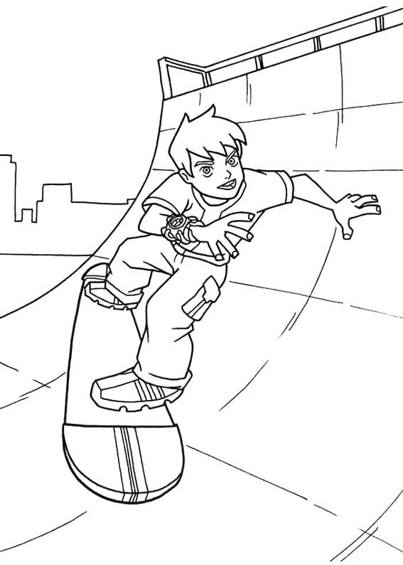 Ben Tennyson Playing Skateboard Coloring Page | Kids Coloring Pages ...