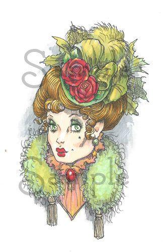 Christmas Bonnet 1898 digi stamp by RickStdennis on Etsy
