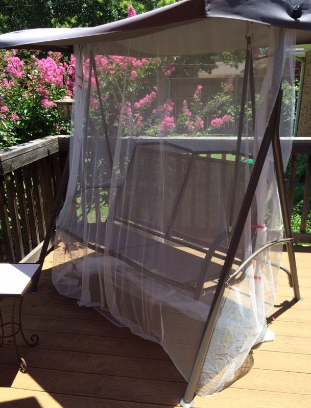Mosquito Cover For Patio Swing Using 4 Ikea Net Curtains Stitched