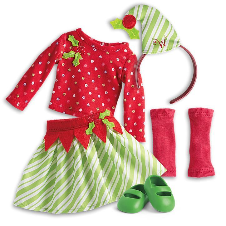 American Girl Elf Outfit for Welliewishers Dolls Red Green Christmas Dress NEW!