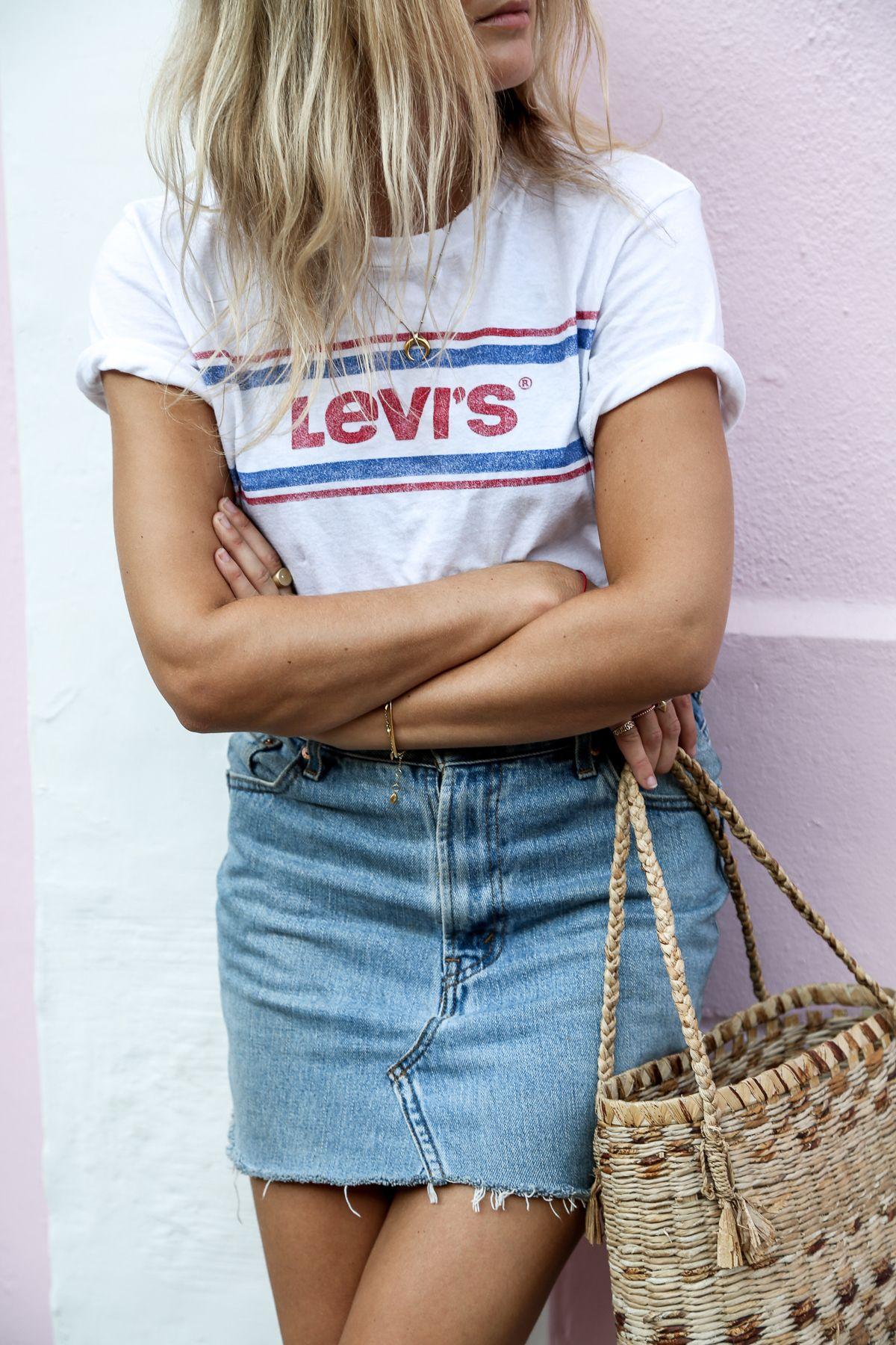 31af15a6a4a En el post del día de hoy quiero compartir con nuestras lectoras algunas  ideas de Outfits con faldas de mezclilla para el verano