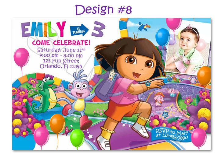 Dora the Explorer Go Diego Birthday Party Photo Invitations – Printable Dora Birthday Invitations