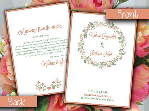Fold Over Wedding Program Template Shabby Chic Wedding Program
