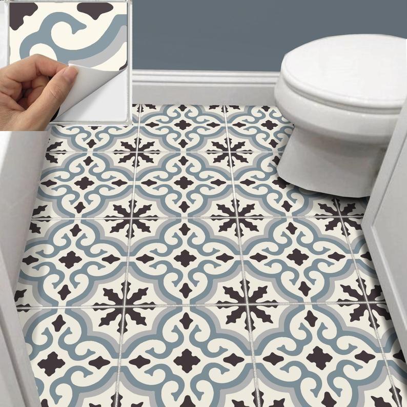 Tile Sticker Kitchen Bath Floor Wall Waterproof Removable Etsy Wall Waterproofing Tile Stickers Kitchen Flooring