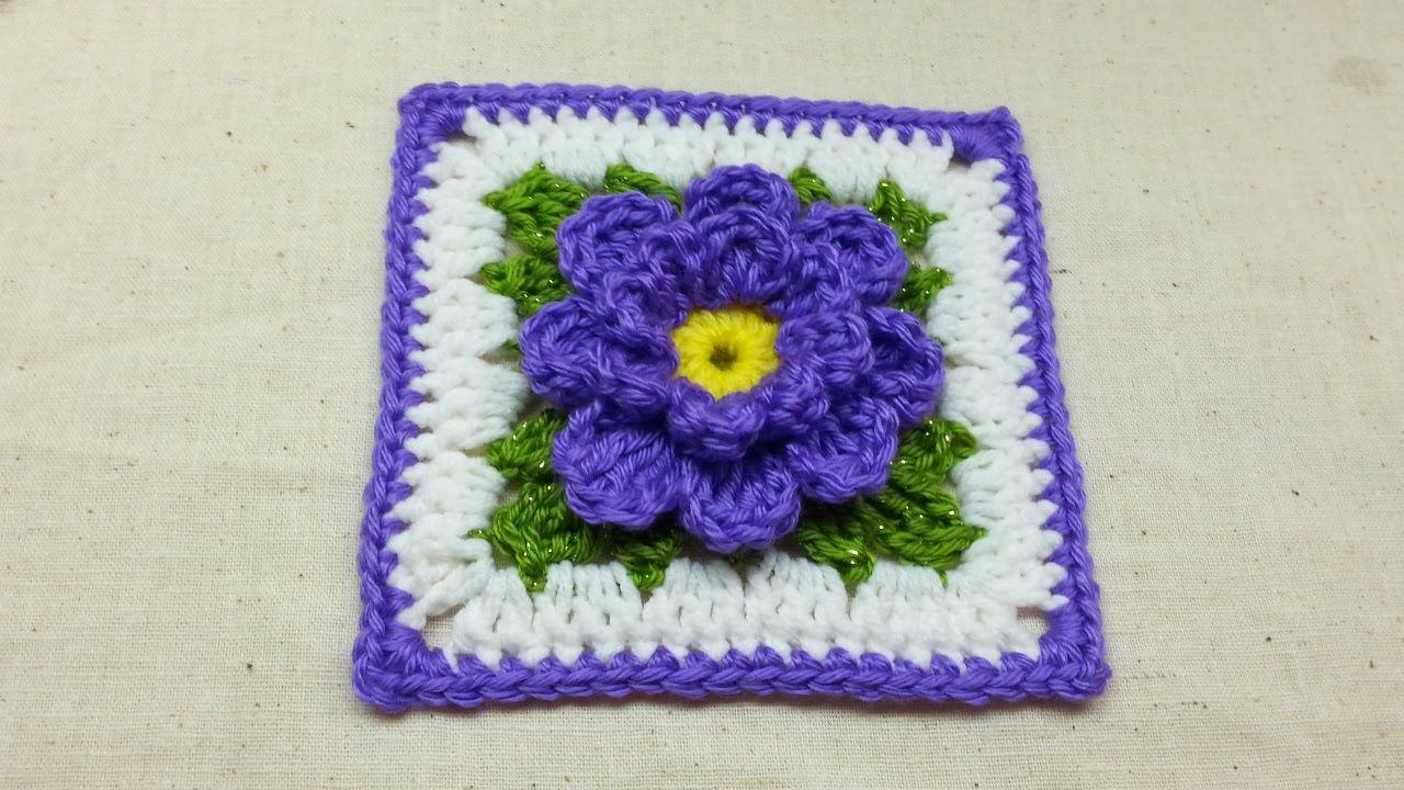 Deze Bloemen Granny Haken Haak Filmpjes You Tube Pinterest