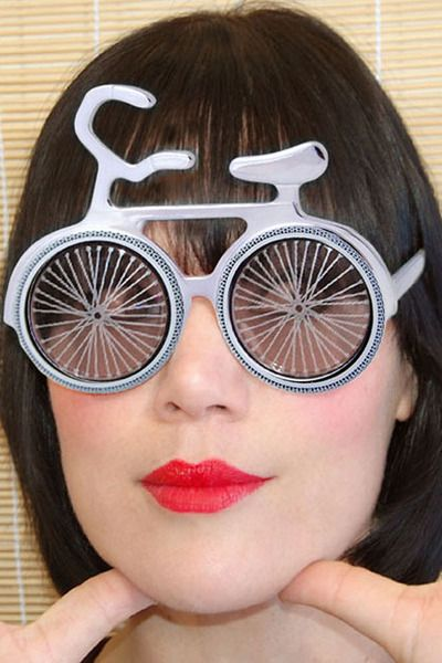 bike eyewear  Super Cute BICYCLE shaped sunglasses! by _GiantVintage_