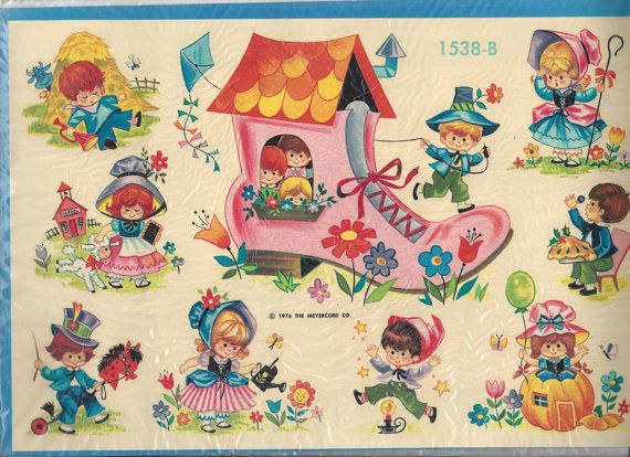 Vintage Meyercord Nursery Rhyme Decals 1976
