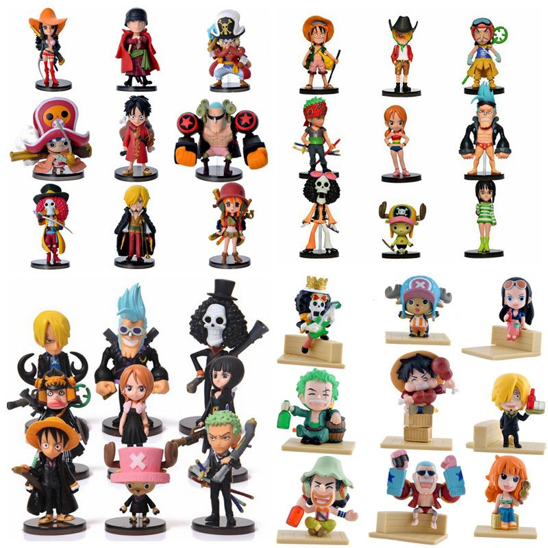 9pcs set Mini One Piece Action Figure Luffy Classic Collection Model Toy
