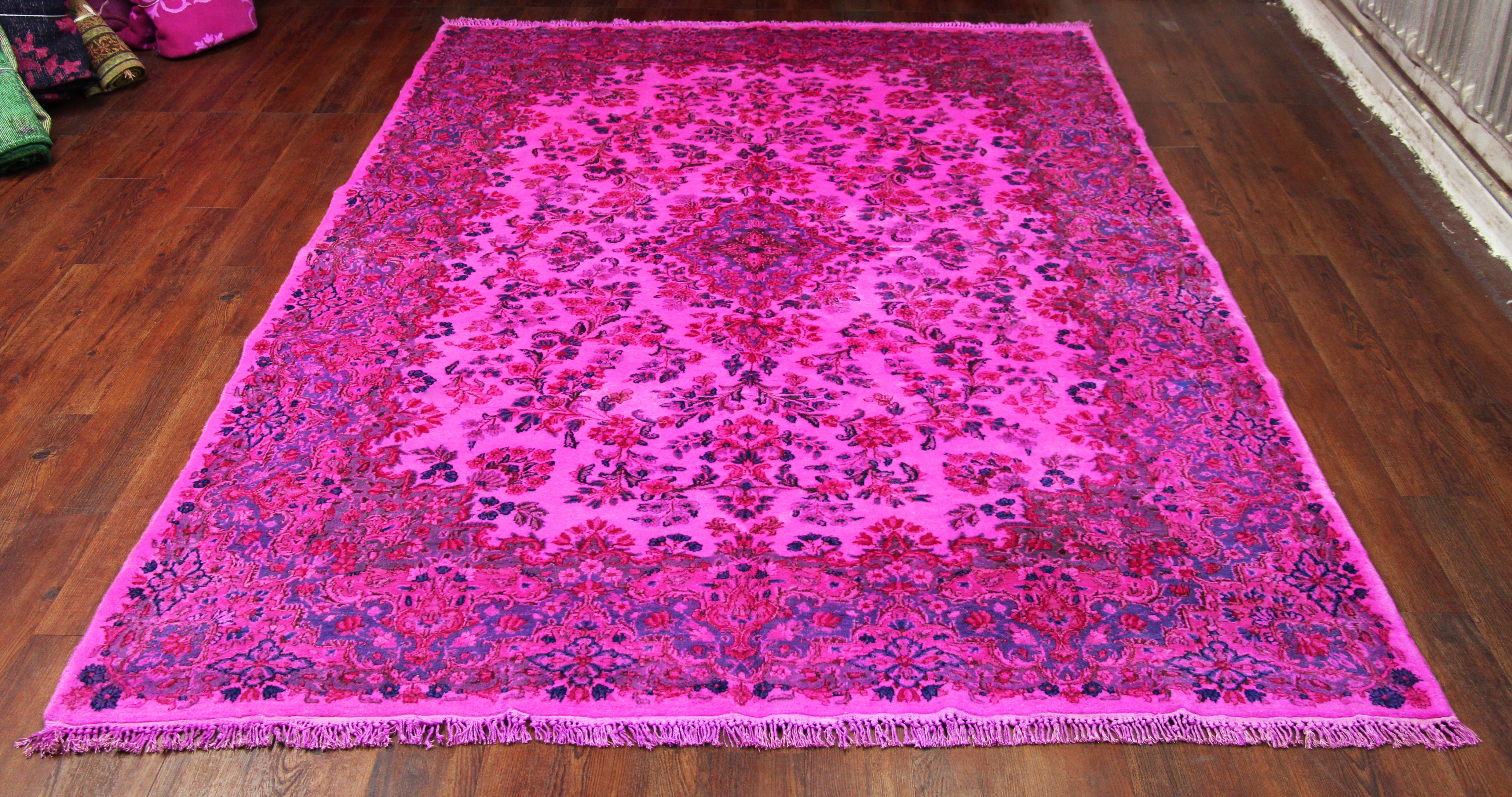 7x10 Hot Pink Overdyed Rug Overdyed Rugs Rugs Turkish