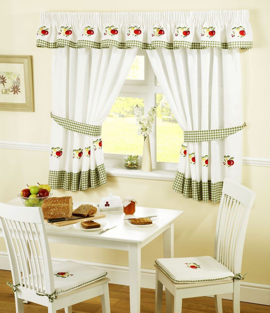 Apples and pears green red gingham kitchen curtains w