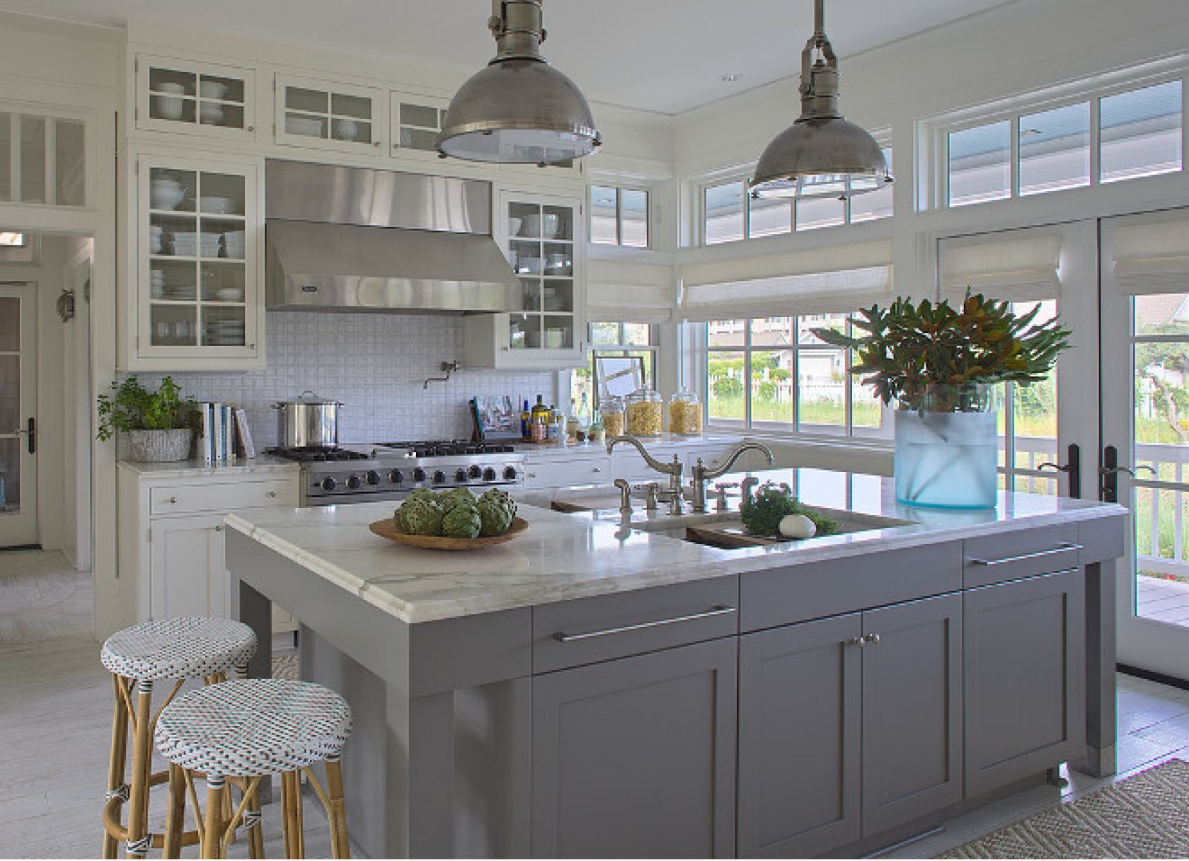 Coastal kitchen with cargo ship lights over the island. | Kitchen ...