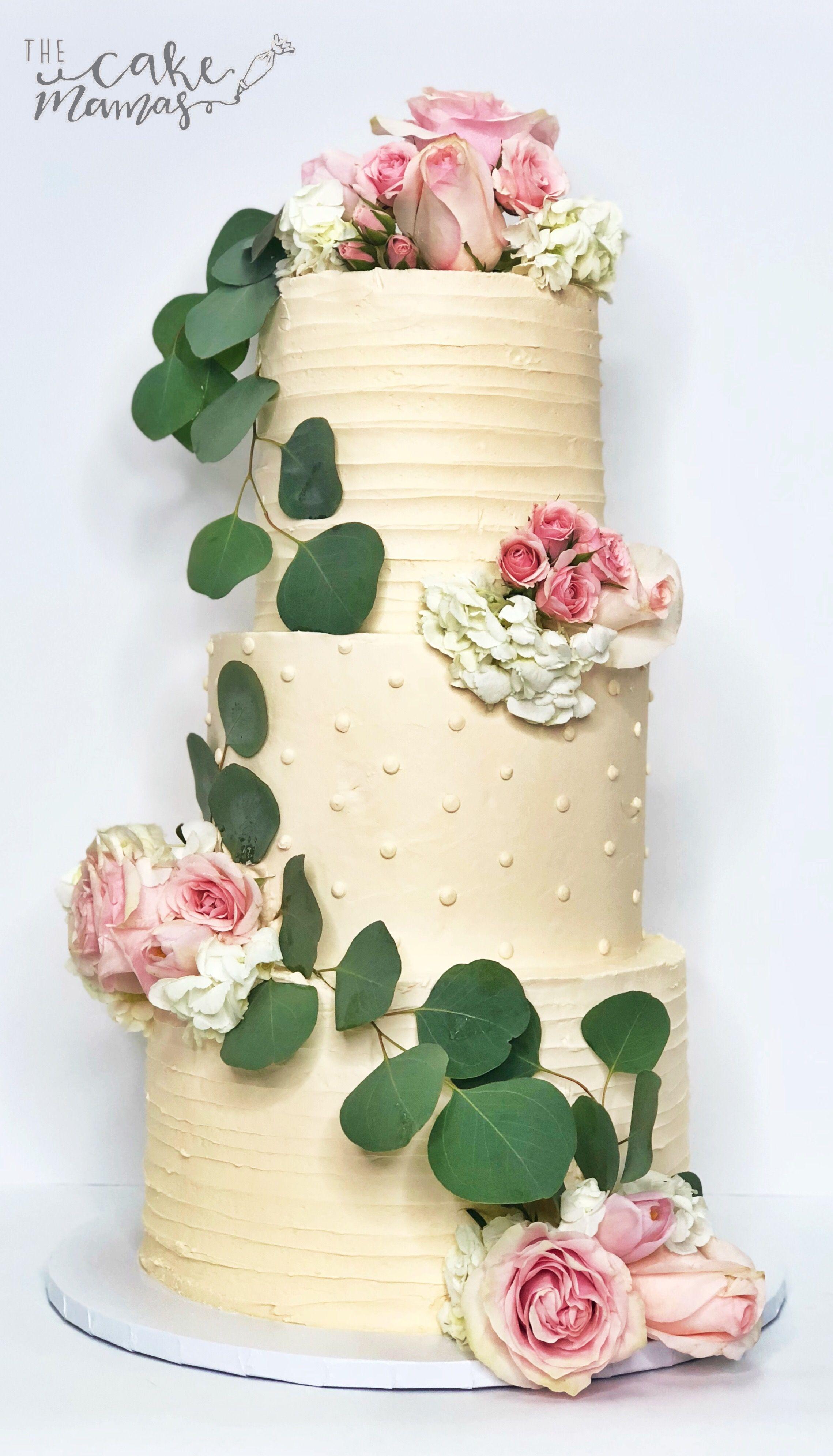 Textured ruffle and polka dot simple buttercream wedding