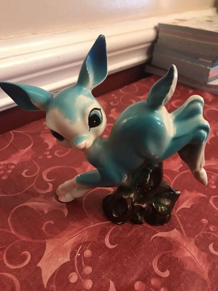 Rare Vintage Porcelain Bambi Blue Deer Big Eyes From Japan ...