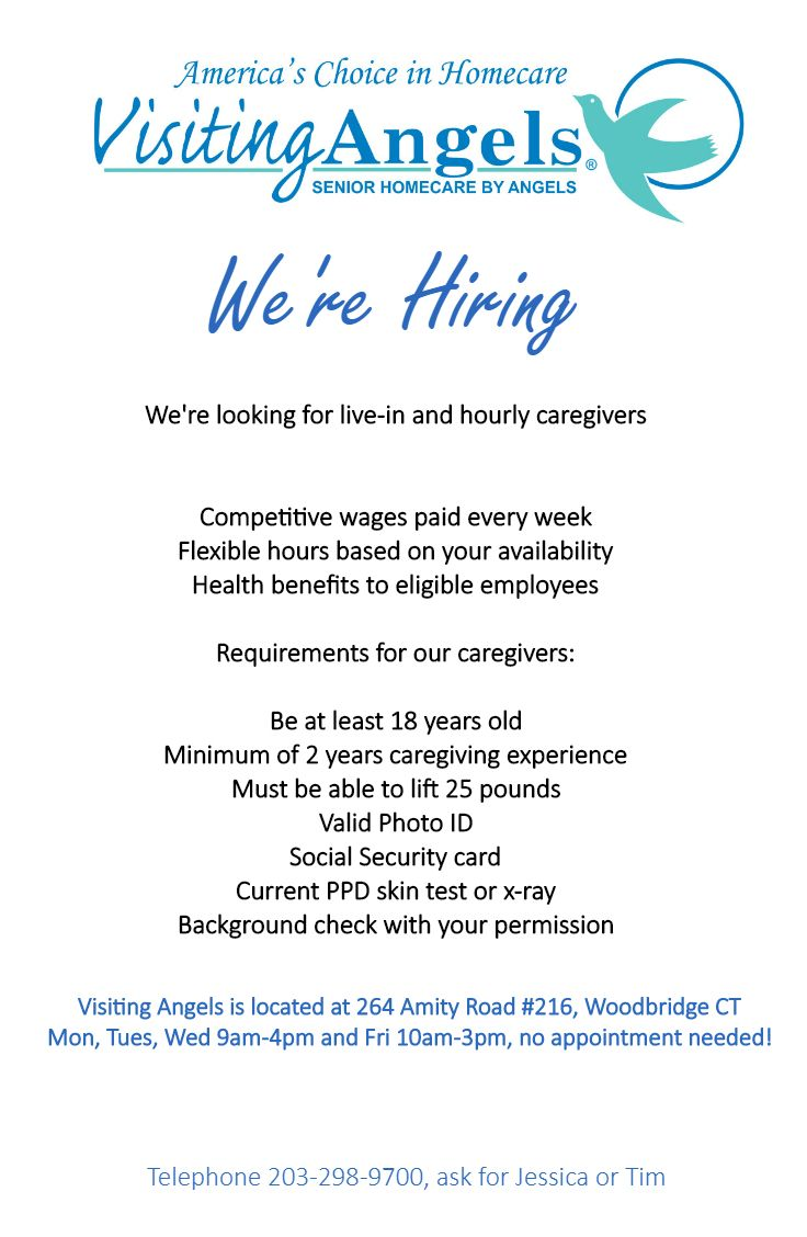 We're Hiring! Visiting Angels Woodbridge,CT #hiring #cna #job #hha