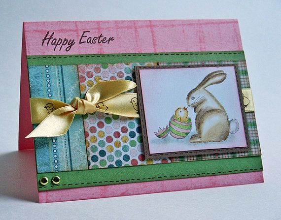 Greeting Card  Happy Easter Bunny with Chick Handmade by JanTink
