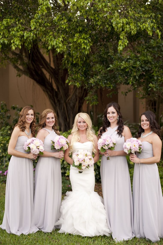 A glamorous silver blush beach wedding grey bridesmaid dresses a glamorous silver blush beach wedding ombrellifo Choice Image