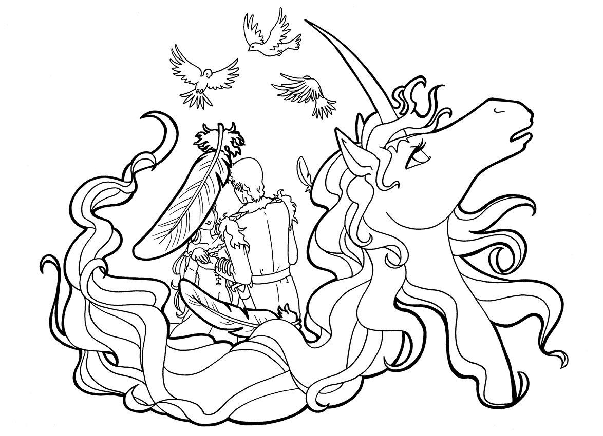 The Last Unicorn Colouring Page Amalthea And Lir Colouring Page The Last Unicorn Art Lir Romantic Colo Unicorn Coloring Pages Coloring Pages Unicorn Sketch