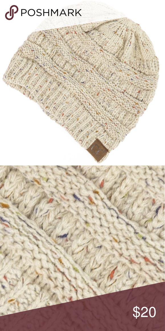 e599dd60b26 C.C Confetti Beanie Cable knit Cream Oatmeal C.C Confetti Beanie Cable knit