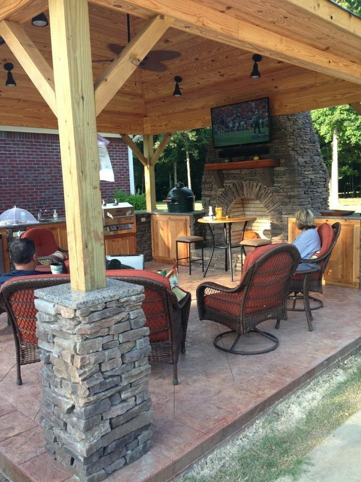 outdoor kitchen/pavilion!  We love it! stacked stone fireplace arch