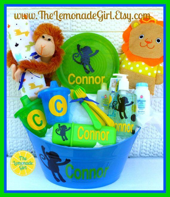 Personalized Baby Basket, Monkey Baby Basket, Monkey Themed Baby Shower, New Mom Gift, Baby Gift by TheLemonadeGirl, $50.00