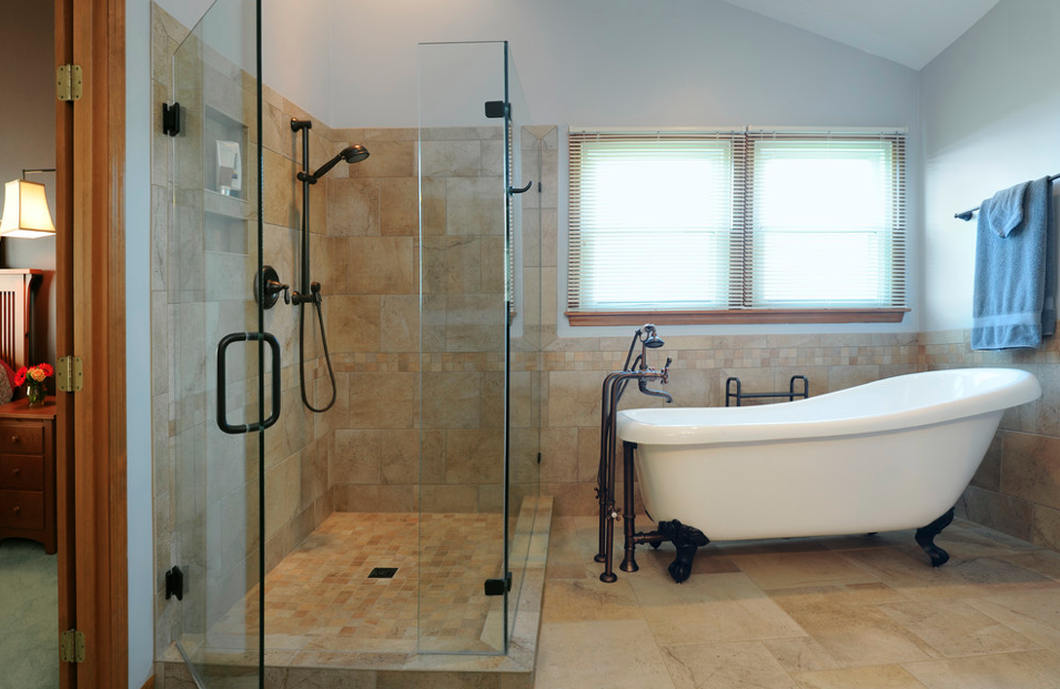 corner shower with claw foot tub | ... the larger glass shower ...