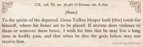 Roman Epitaphs | Annuary Chit
