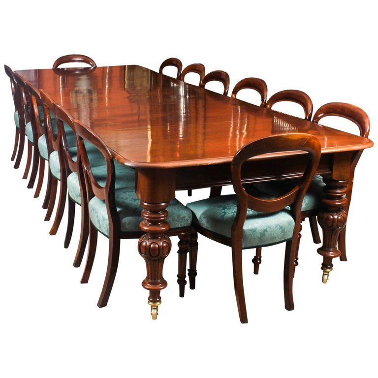 19th Century Victorian Flame Mahogany Dining Table And 14 Antique