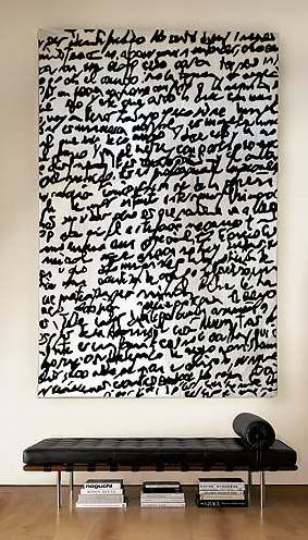 Joaquim Ruiz Millet I Manuscrit Rug (2003) & Ludwig Mies van der Rohe Barcelona couch