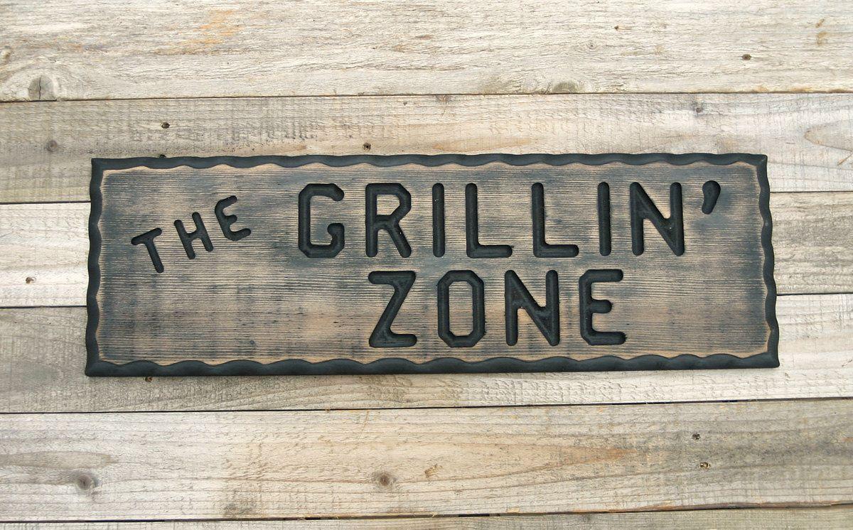 Diy Man Cave Art : Bbq sign grillin' zone wood man cave barbecue bar