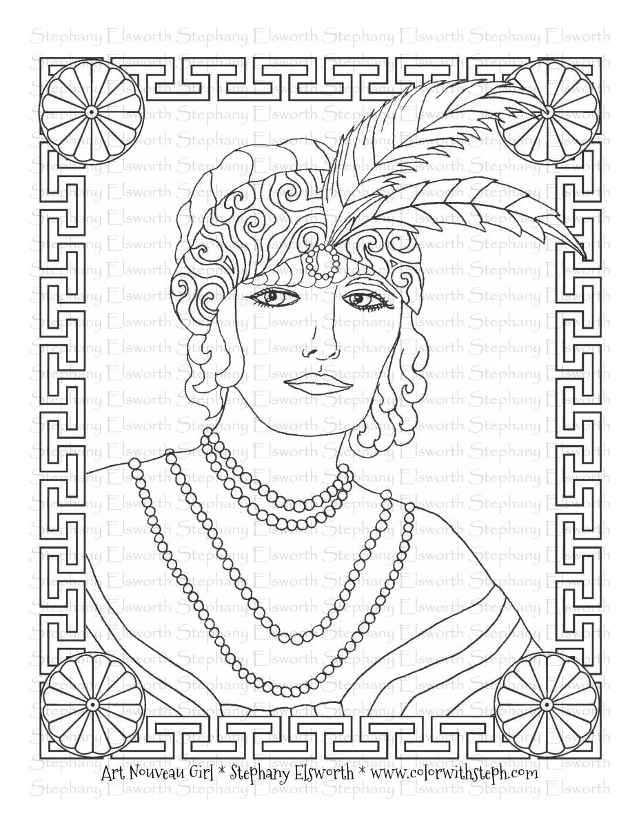 Art Nouveau Girl Free Printable Coloring Page in 2020 ...