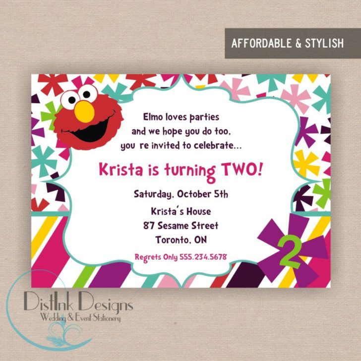 Stylish 2nd Birthday Party Invitation Wording Elmo World Second Template