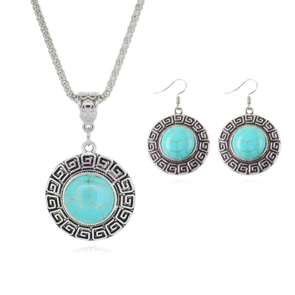 Fashion Jewelry Sets Tibetan Turquoise Chain Necklace & Pendants Silver Plated Water Drop Shaped Stud Earrings Women Collar 4