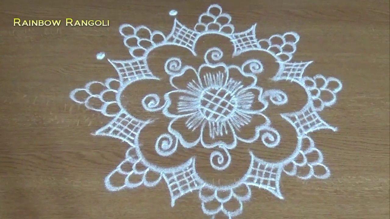 Freehand Flower Rangoli art designs for beginners Simple