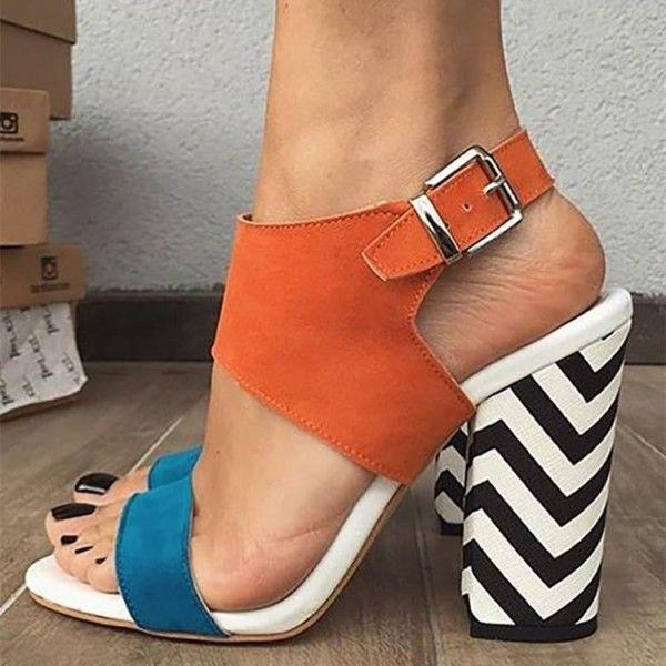 8ba75e7bd943 Orange and Blue Slingback Block Heel Sandals image 1