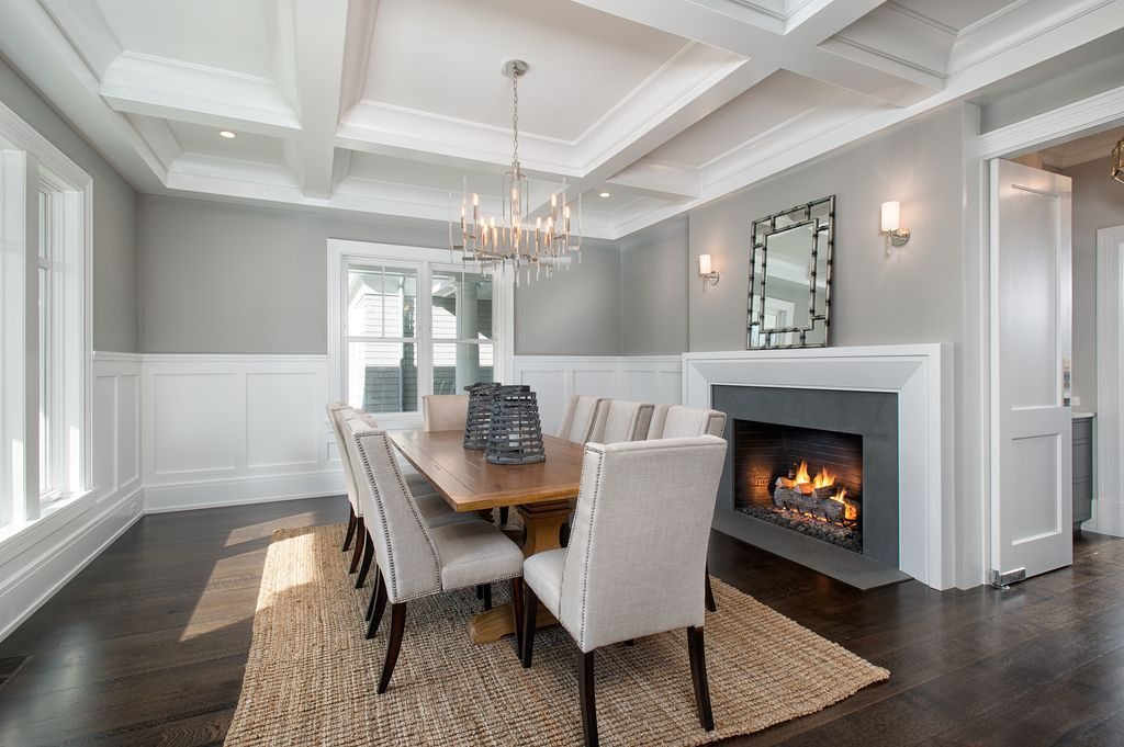 Transitional Dining Room with Box ceiling, High ceiling ...
