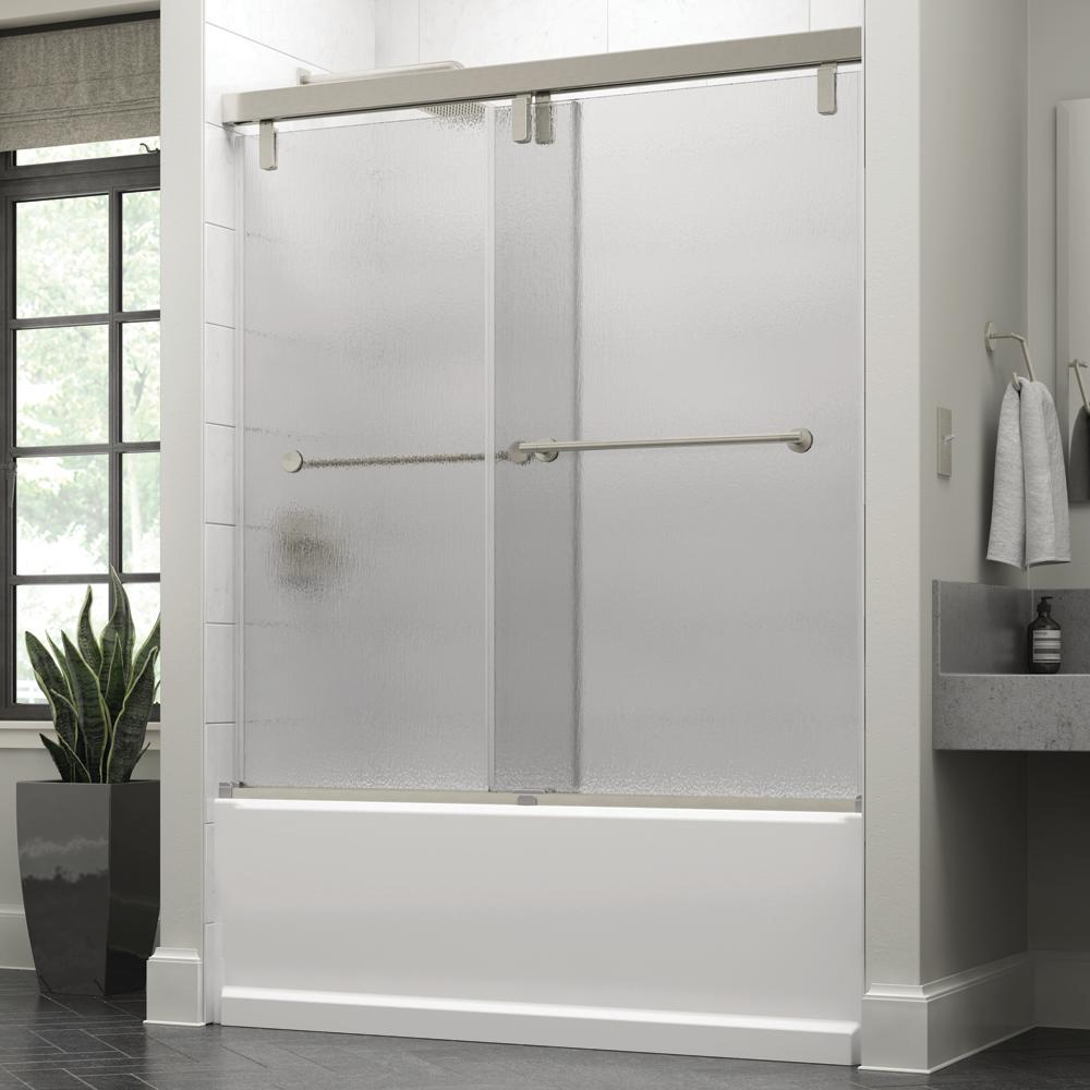 Delta Mandara 60 X 59 1 4 In Frameless Mod Soft Close Sliding Bathtub Door In Nickel With 3 8 In 10mm Rain Glass Sd3442437 The Home Depot Bathtub Doors Bathtub With Glass Door Unique Shower Doors