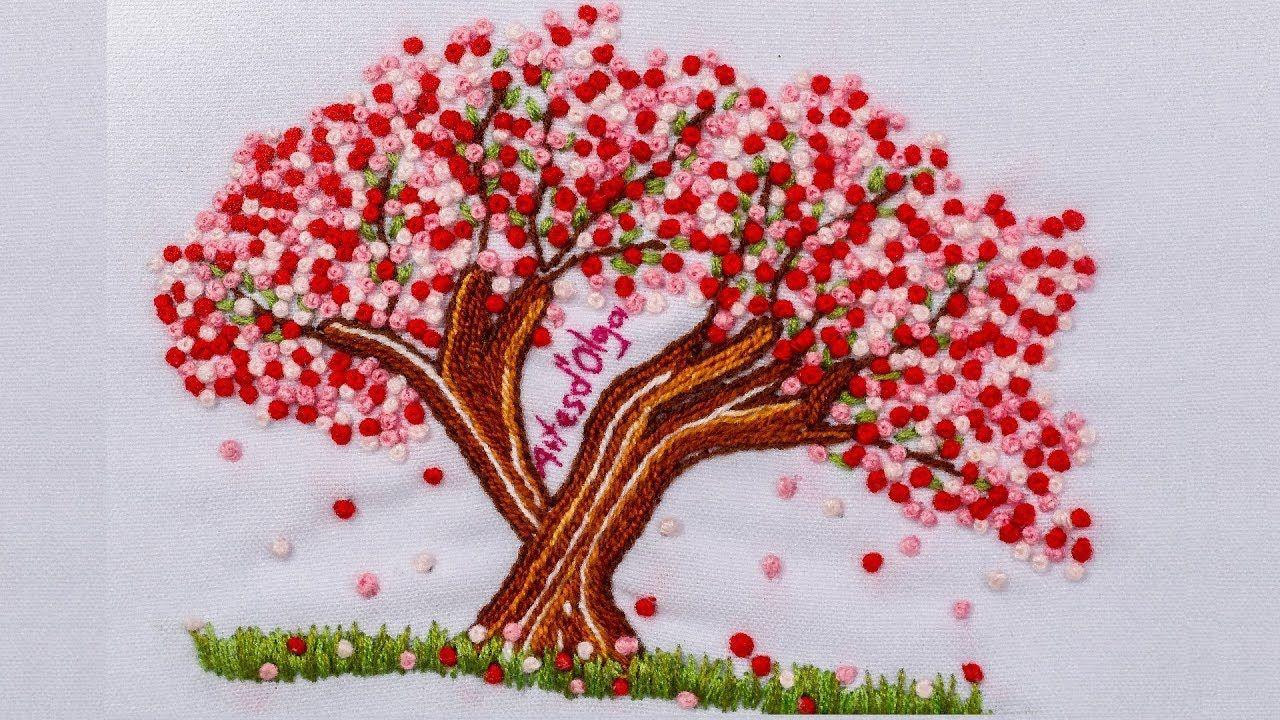 Sakura Japanese Cherry Blossom Tree Embroidery Arbol De Cerezo Bordado A Mano Artesd Olga Youtube Family Tree Designs Flower Watch Cherry Blossom Tree